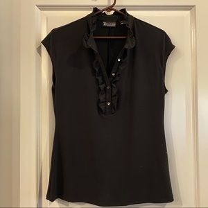 Sleeveless black button front top